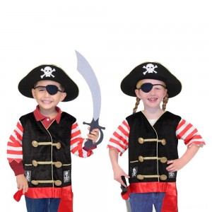 Melissa & Doug Pirate Role Play Costume Dress-Up Set With Hat, Sword, and Eye Patch, Adult Unisex, Black Clearance Sale