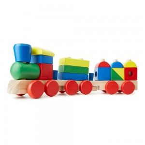 Melissa & Doug Stacking Train - Classic Wooden Toddler Toy (18pc) Clearance Sale