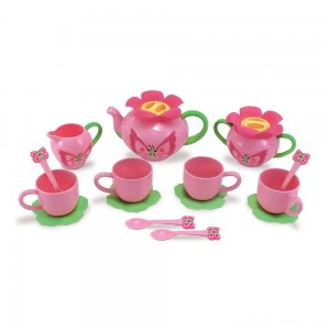 Melissa & Doug Sunny Patch Bella Butterfly Tea Set (17pc) - Play Food Accessories Clearance Sale