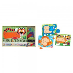 Melissa & Doug Animal Pattern Blocks Set With 5 Double-Sided Wooden Boards and 47 Multi-Shaped Blocks Clearance Sale