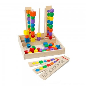 Melissa & Doug Bead Sequencing Set With 46 Wooden Beads and 5 Double-Sided Pattern Boards Clearance Sale