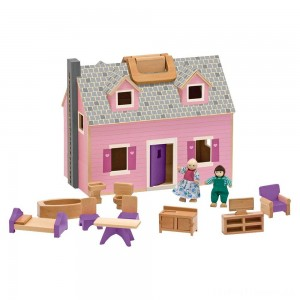 Melissa & Doug Fold and Go Wooden Dollhouse With 2 Dolls and Wooden Furniture Clearance Sale