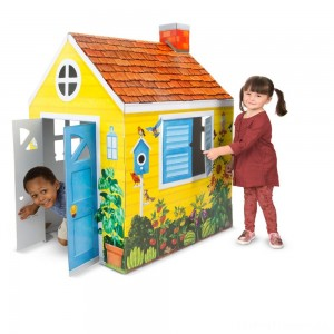 Melissa & Doug Country Cottage Indoor Corrugate Playhouse (Over 4' Tall) Clearance Sale