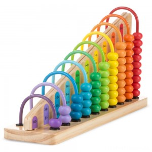 Melissa & Doug Add & Subtract Abacus - Educational Toy With 55 Colorful Beads and Sturdy Wooden Construction Clearance Sale
