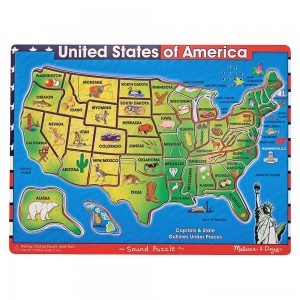Melissa & Doug USA Map Sound Puzzle - Wooden Peg Puzzle With Sound Effects (40pc) Clearance Sale