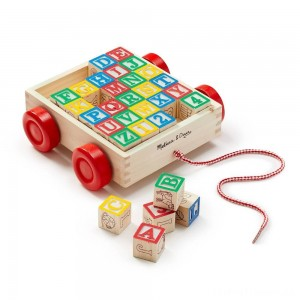 Melissa & Doug Classic ABC Wooden Block Cart Educational Toy With 30 Solid Wood Blocks Clearance Sale