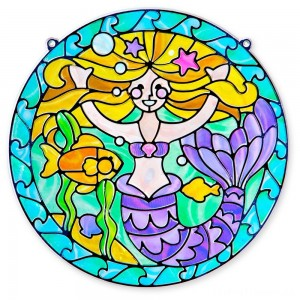 Melissa & Doug Stained Glass Made Easy Activity Kit: Mermaids - 140+ Stickers Clearance Sale