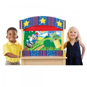 Melissa & Doug Tabletop Puppet Theater - Sturdy Wooden Construction Clearance Sale
