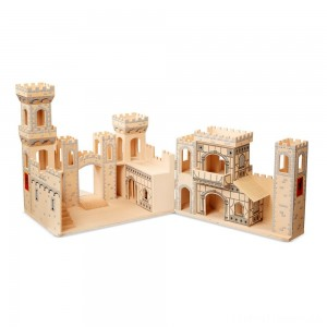 Melissa & Doug Deluxe Folding Medieval Wooden Castle - Hinged for Compact Storage Clearance Sale