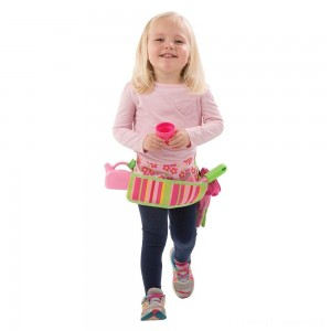Melissa & Doug Sunny Patch Blossom Bright Garden Tool Belt Set With Gloves, Trowel, Watering Can, and Pot Clearance Sale