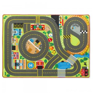 Melissa & Doug Jumbo Roadway Activity Rug With 4 Wooden Traffic Signs (79 x 58 inches) Clearance Sale