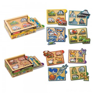 Melissa & Doug Wooden Mini-Puzzle Set With Storage and Travel Case 32pc Clearance Sale