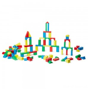Melissa & Doug Wooden Building Block Set - 200 Blocks in 4 Colors and 9 Shapes Clearance Sale