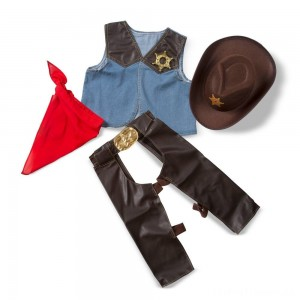 Melissa & Doug Cowboy Role Play Costume Set (5pc) - Includes Faux Leather Chaps, Adult Unisex, Blue/Gold/Red Clearance Sale