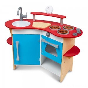 Melissa & Doug Cook's Corner Wooden Kitchen Pretend Play Set Clearance Sale