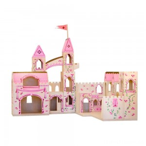 Melissa & Doug Folding Princess Castle Wooden Dollhouse With Drawbridge and Turrets Clearance Sale