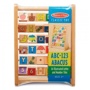 Melissa & Doug ABC-123 Abacus - Classic Wooden Educational Toy With 36 Letter and Number Tiles Clearance Sale