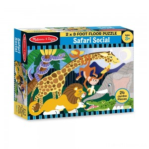 Melissa And Doug Safari Social Jumbo Floor Puzzle 24pc Clearance Sale