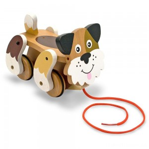 Melissa & Doug Playful Puppy Wooden Pull Toy for Beginner Walkers Clearance Sale