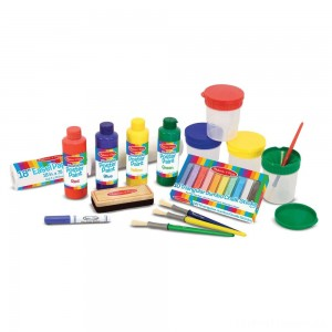 Melissa & Doug Easel Accessory Set - Paint, Cups, Brushes, Chalk, Paper, Dry-Erase Marker Clearance Sale