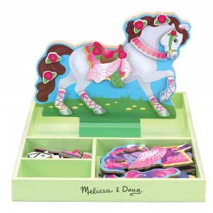 Melissa & Doug My Horse Clover Wooden Doll and Stand With Magnetic Dress-Up Accessories (60 pc Clearance Sale