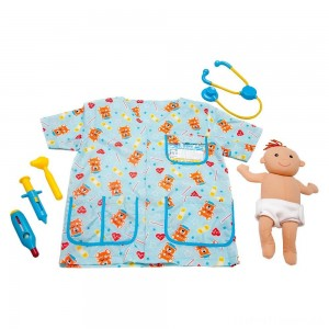 Melissa & Doug Pediatric Nurse Role Play Costume Set (8pc) - Includes Baby Doll, Stethoscope, Adult Unisex, Size: Newborn, Gold Clearance Sale