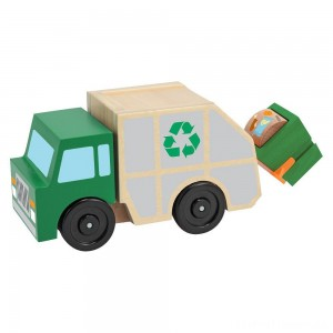 Melissa & Doug Garbage Truck Wooden Vehicle Toy (3pc) Clearance Sale