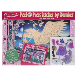 Melissa & Doug Peel and Press Sticker by Number Kit: Mystical Unicorn - 100+ Stickers, Jumbo Frame Clearance Sale