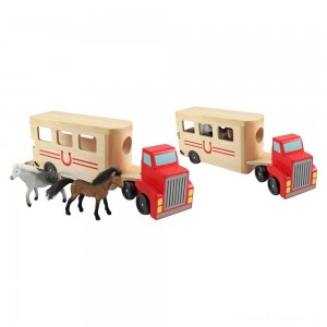 Melissa & Doug Horse Carrier Wooden Vehicle Play Set With 2 Flocked Horses and Pull-Down Ramp Clearance Sale