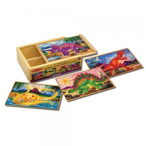 Melissa & Doug Dinosaurs 4-in-1 Wooden Jigsaw Puzzles in a Storage Box (48pc) Clearance Sale