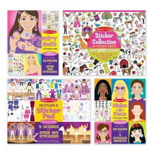 Melissa & Doug Sticker Pads Set: Jewelry and Nails, Dress-Up, Make-a-Face, Favorite Themes - 1225+ Stickers Clearance Sale