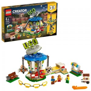 LEGO Creator Fairground Carousel 31095 Space-Themed Building Kit with Ice Cream Cart 595pc Clearance Sale