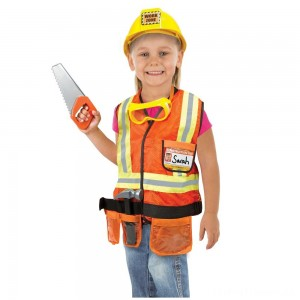 Melissa & Doug Construction Worker Role Play Costume Dress-Up Set (6pc), Adult Unisex, Size: Large, Gold/Orange/Yellow Clearance Sale