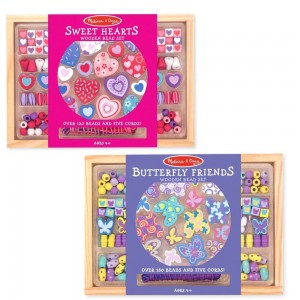 Melissa & Doug Sweet Hearts and Butterfly Friends Bead Set of 2 - 250+ Wooden Beads Clearance Sale