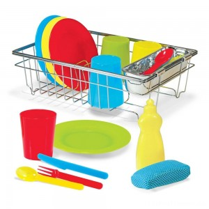 Melissa & Doug Let's Play House Wash and Dry Dish Set (24pc) Clearance Sale