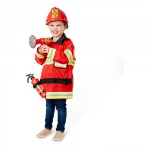Melissa & Doug Fire Chief Role Play Costume Dress-Up Set (6pc), Adult Unisex, Size: Small, Red Clearance Sale