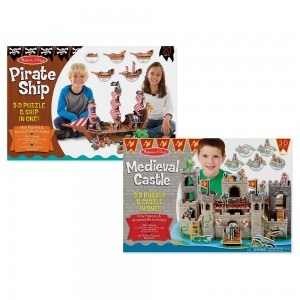 Melissa And Doug Pirate Ship And Medieval Castle 3D Puzzle 200pc Clearance Sale