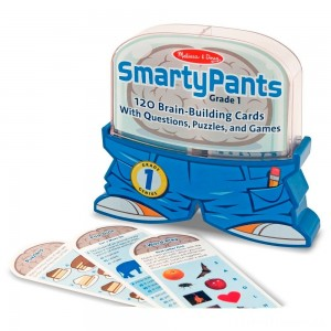 Melissa & Doug Smarty Pants 1st Grade Card Set - 120 Educational, Brain-Building Questions, Puzzles, and Games, Kids Unisex Clearance Sale
