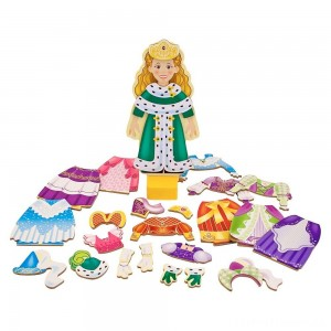 Melissa & Doug Deluxe Princess Elise Magnetic Wooden Dress-Up Doll Play Set (24pc) Clearance Sale