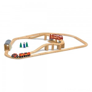 Melissa & Doug Swivel Bridge Wooden Train Set (47pc) Clearance Sale