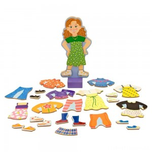 Melissa & Doug Maggie Leigh Magnetic Wooden Dress-Up Doll Pretend Play Set (25+pc) Clearance Sale