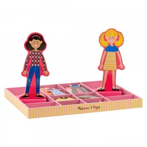 Melissa & Doug Abby and Emma Deluxe Magnetic Wooden Dress-Up Dolls Play Set (55+pc) Clearance Sale