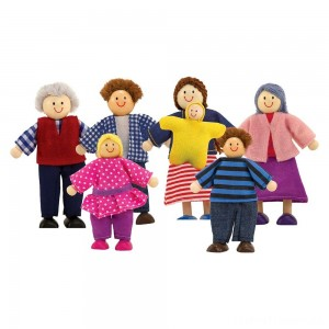 Melissa & Doug 7-Piece Poseable Wooden Doll Family for Dollhouse (2-4 inches each) Clearance Sale