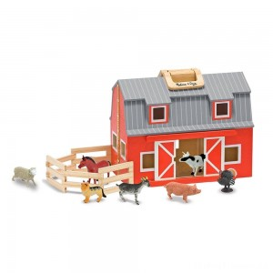 Melissa & Doug Fold and Go Wooden Barn Play Set - 10pc Clearance Sale