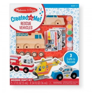 Melissa & Doug Decorate-Your-Own Wooden Rescue Vehicles Craft Kit - Police Car, Fire Truck, Helicopter Clearance Sale
