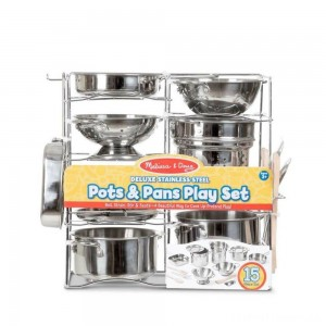 Melissa & Doug Deluxe Stainless Steel Pots & Pans Play Set Clearance Sale