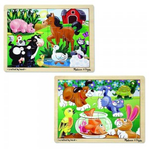 Melissa & Doug Animals Wooden Jigsaw Puzzles Set - Pets and Farm Life (24pc) Clearance Sale