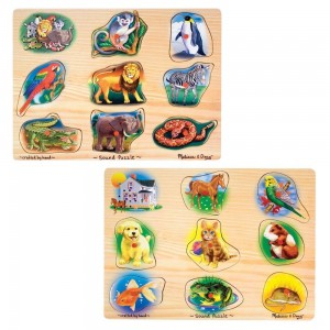 Melissa & Doug Sound Puzzles Set: Pets and Wild Animals Wooden Peg Puzzles 2pc Clearance Sale