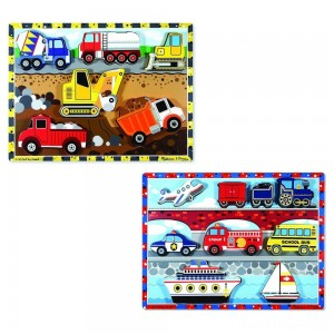 Melissa & Doug Wooden Chunky Puzzles Set - Vehicles and Construction 15pc Clearance Sale