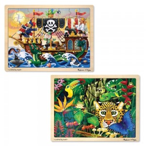 Melissa & Doug Wooden Jigsaw Puzzles Set - Rainforest Animals and Pirate Ship 2pc Clearance Sale